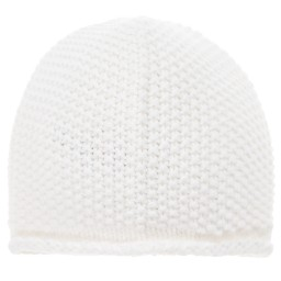 The Little Tailor - White Cotton Knitted Baby Hat | Childrensalon