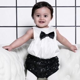 The Tiny Universe - Baby Girls White Satin Bodysuit  | Childrensalon