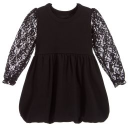 The Tiny Universe - Black Lace Jersey Dress | Childrensalon