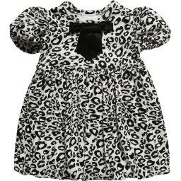 The Tiny Universe - Black 'Tiny Snow Leopard' Jersey Dress   Childrensalon