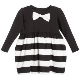 The Tiny Universe - Black 'Tiny Waves' Cotton Jersey Dress | Childrensalon