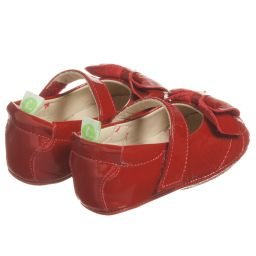 Tip Toey Joey - Baby Girls Red Leather Shoes  | Childrensalon