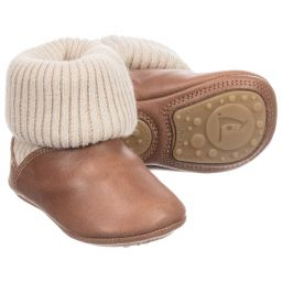 Tip Toey Joey - Brown Leather Baby Boots | Childrensalon