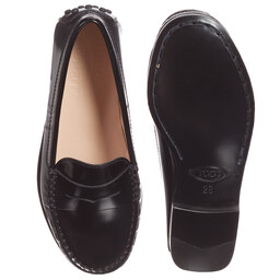 Tod's - Black Leather 'New Citta' Loafers | Childrensalon