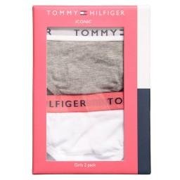Tommy Hilfiger - Girls White & Grey Cotton Bikini Briefs (Pack of 2) | Childrensalon