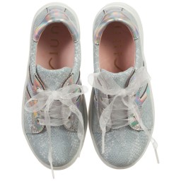 Unisa - Girls Blue & Silver Leather Trainers | Childrensalon