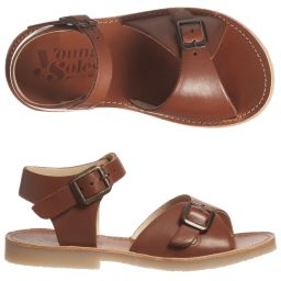Young Soles - Brown Leather 'Sonny' Sandals   Childrensalon