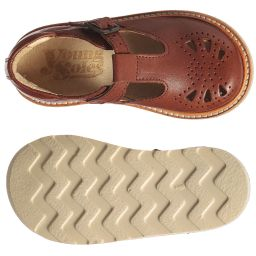 Young Soles - Brown Leather T-Bar Shoes | Childrensalon