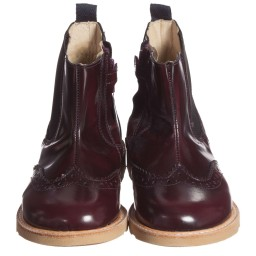 Young Soles - Burgundy Red 'Francis' Leather Ankle Boots | Childrensalon