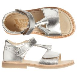 Young Soles - Girls Silver Leather Sandals | Childrensalon