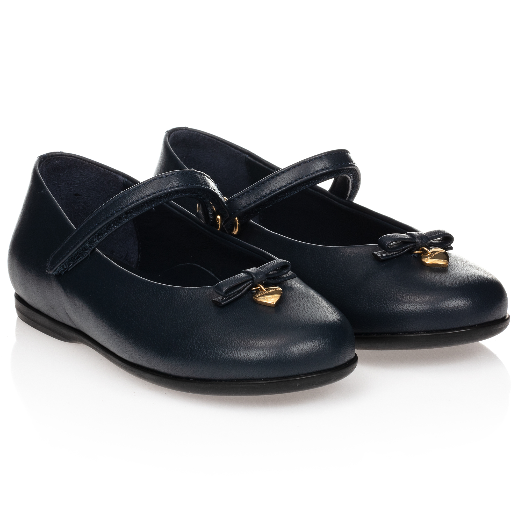 Girls Navy Blue Leather Shoes