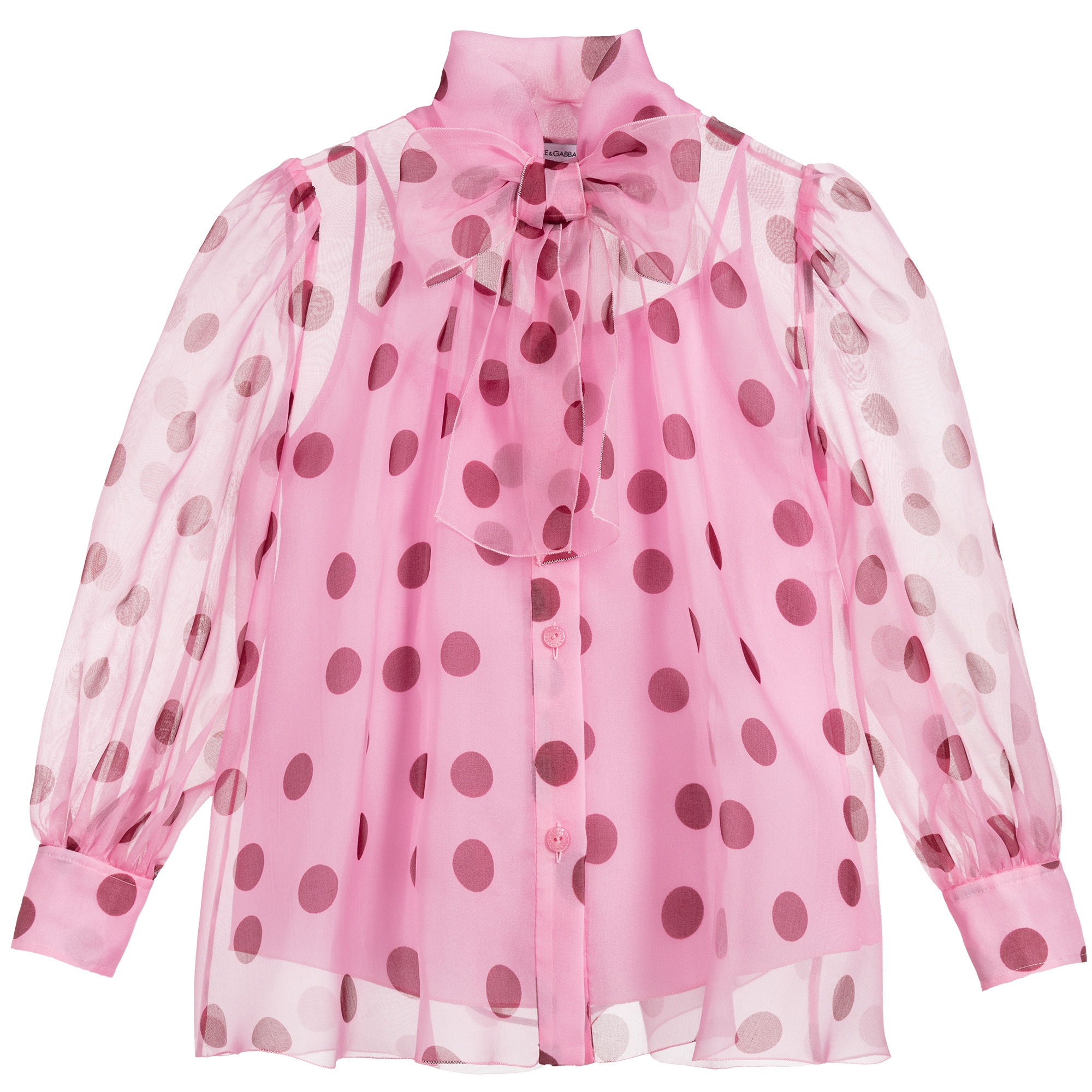 Pink Polka Dot Organza Top