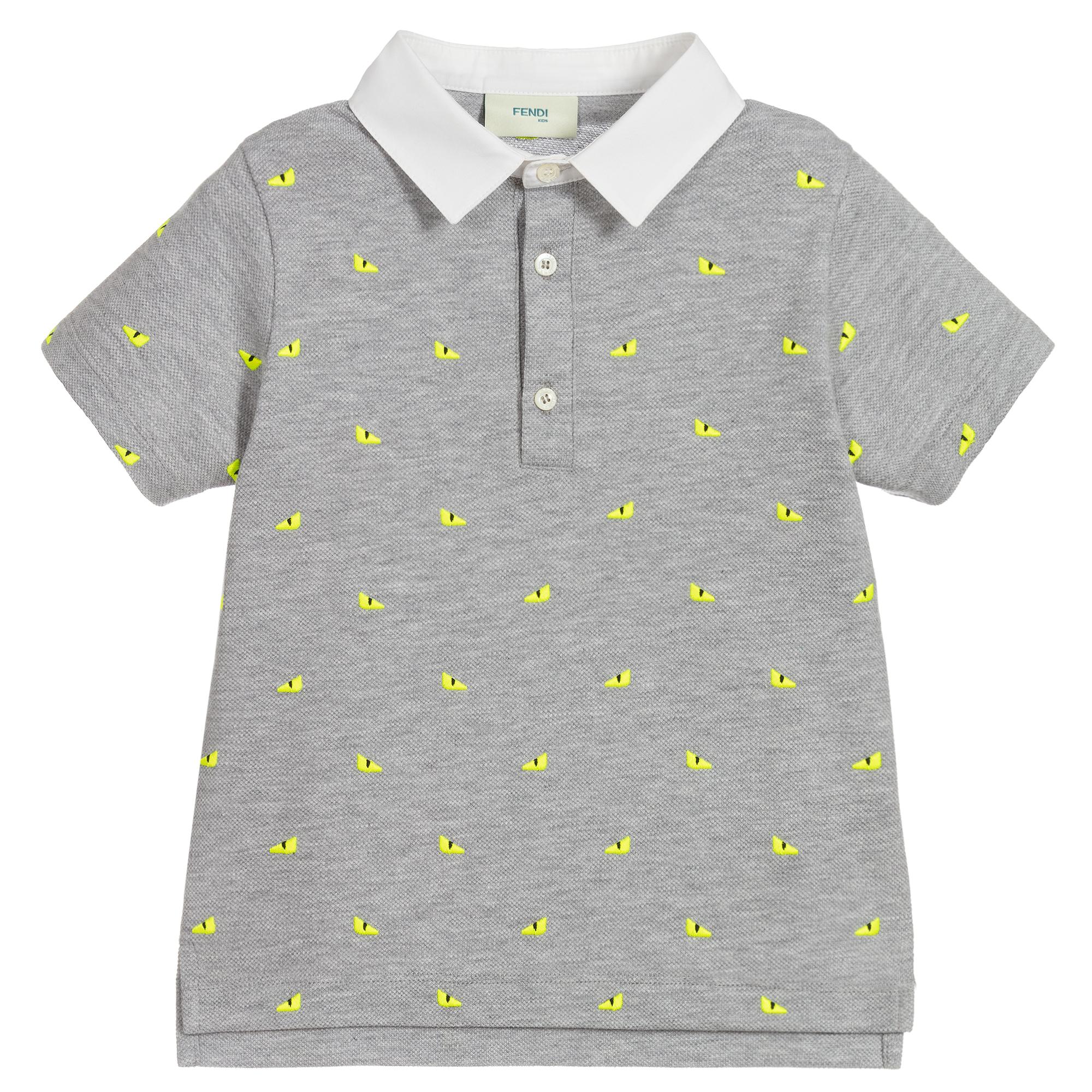 Boys Grey Cotton Polo Shirt
