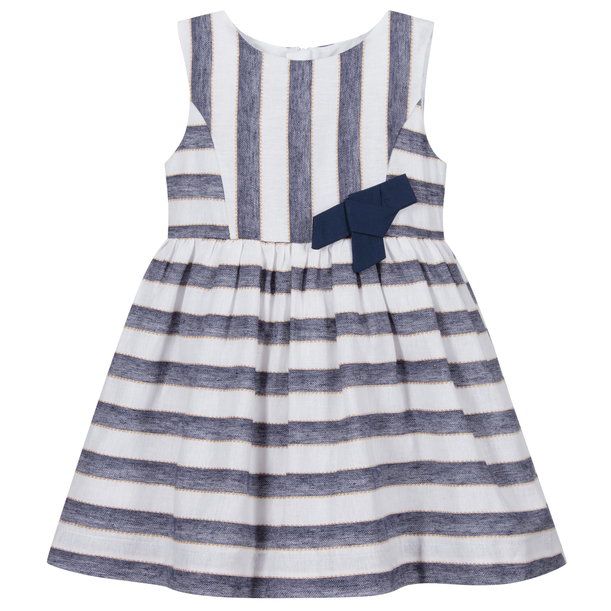 Bnwt Mayoral girls navy and white stripe lined dress