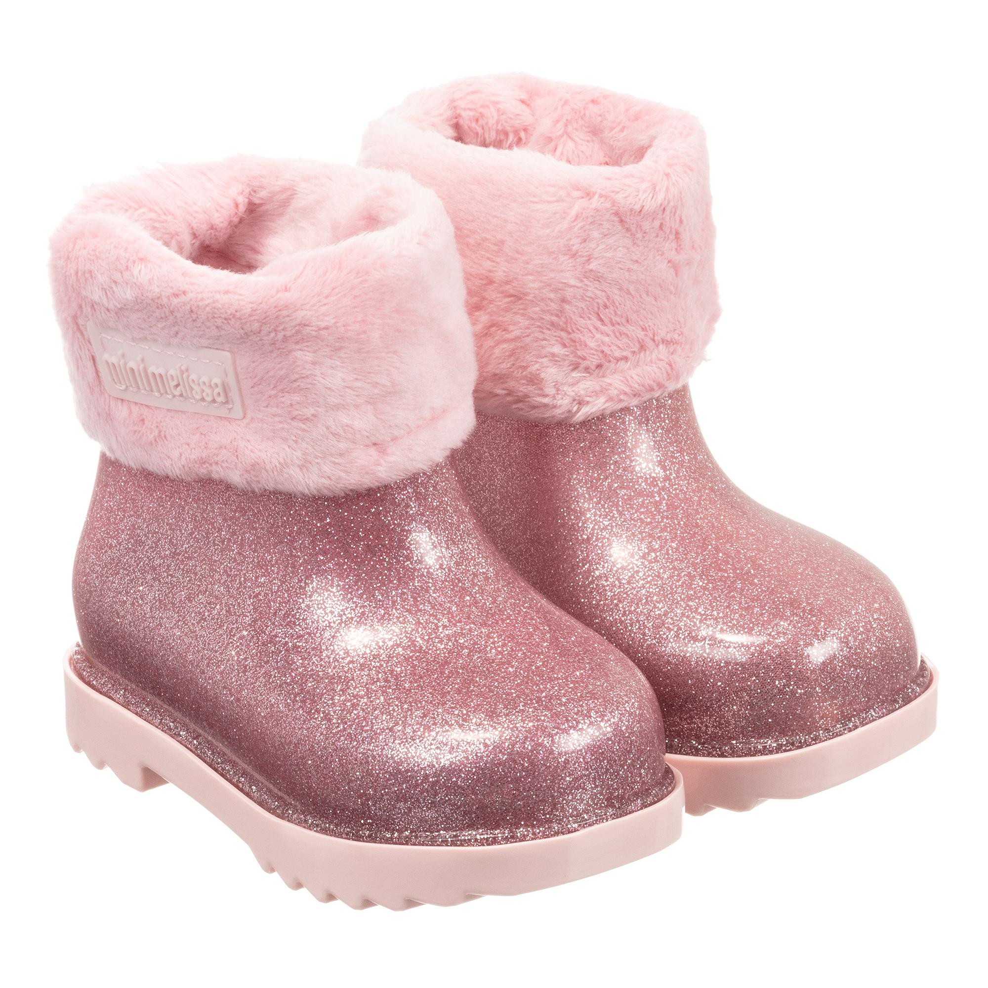 Mini Melissa - Pink Glitter Boots