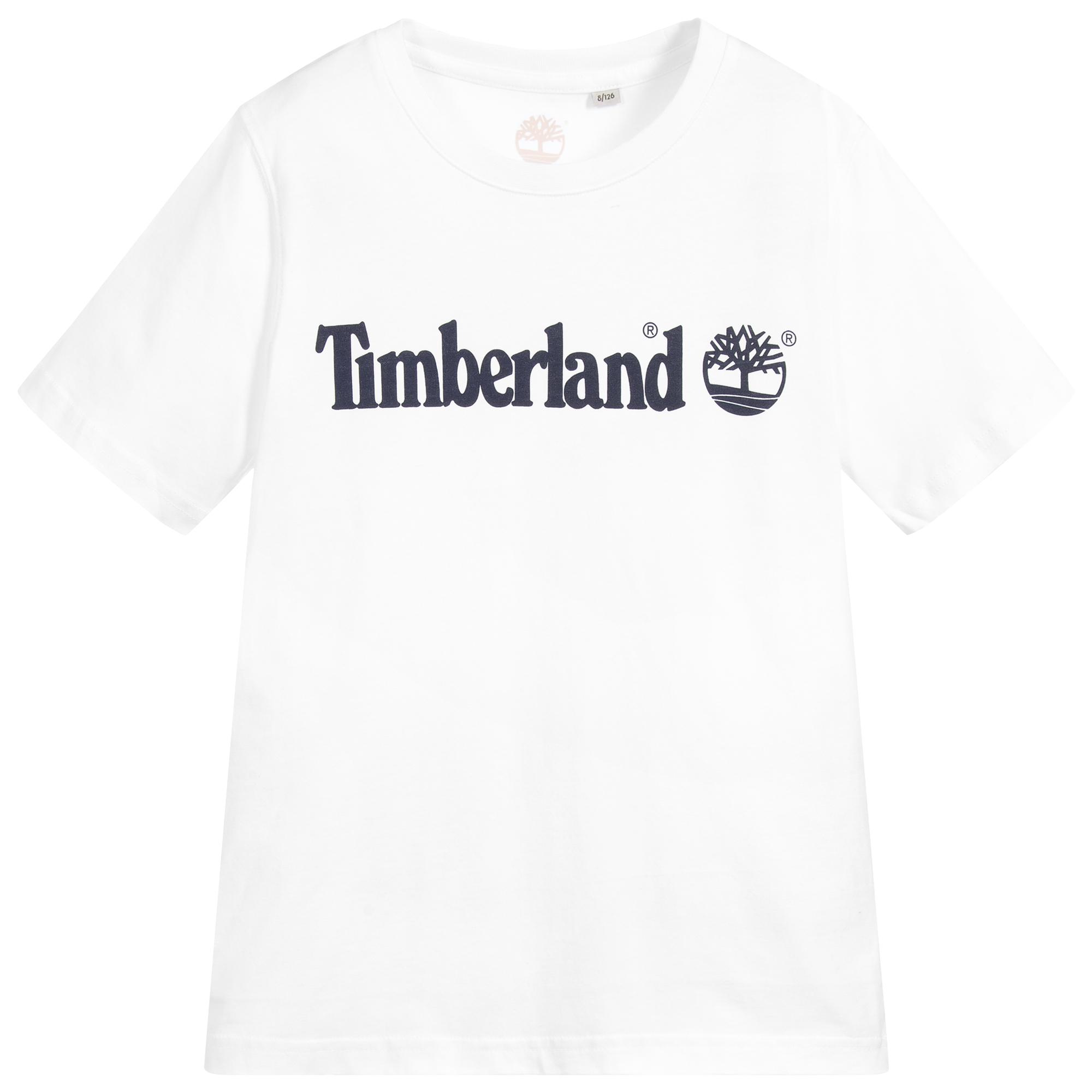 Electricista Ánimo eje  Timberland - White Organic Cotton T-Shirt | Childrensalon