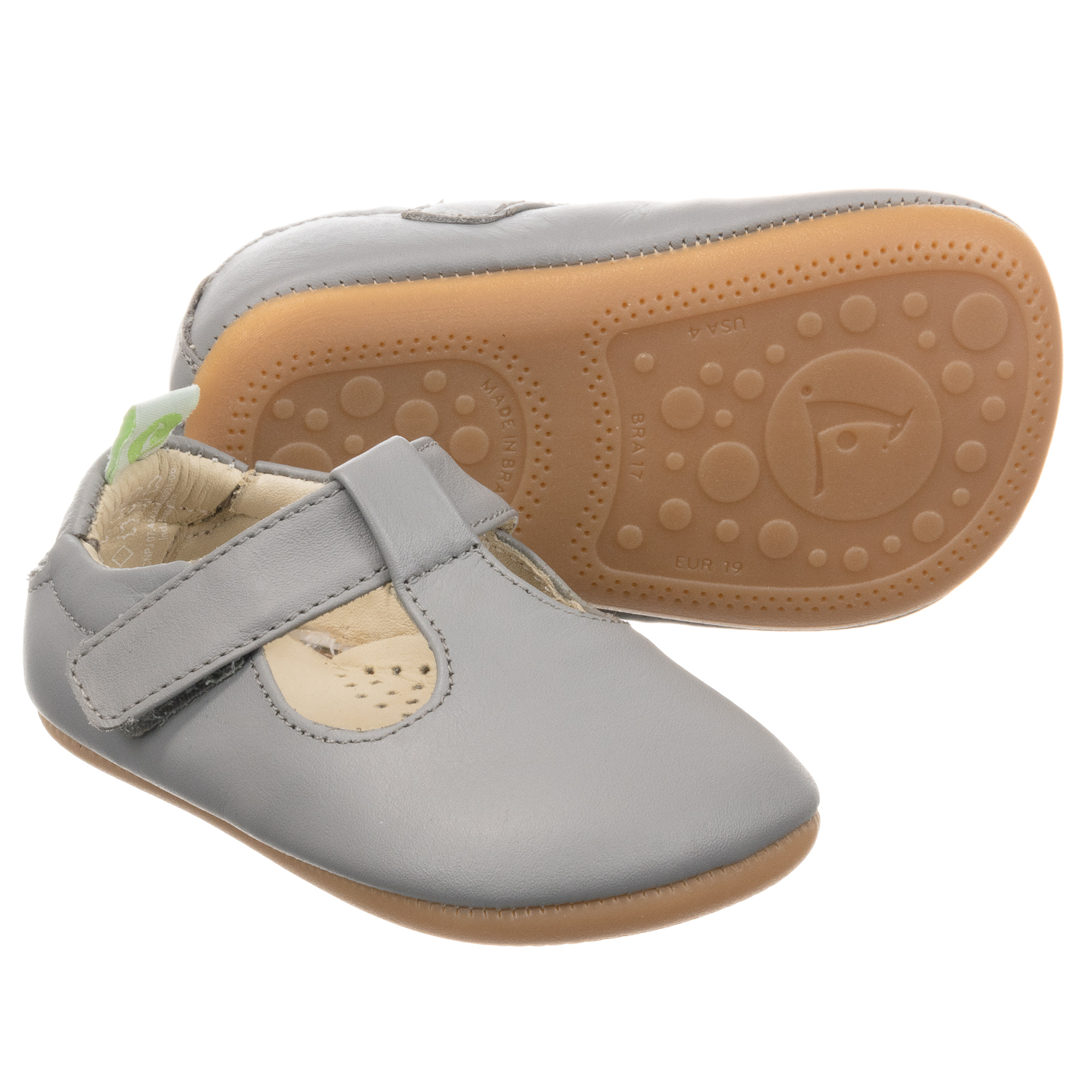 Tip Toey Joey - Grey Leather Baby Shoes